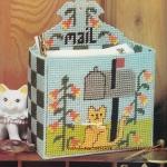 ชุดปักแผ่นเฟรมกล่องใส่จดหมายลายแมว