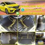 ขายพรมปูพื้นรถยนต์เข้ารูป Honda Jazz 2016 ลายธนูสีดำขอบเหลือง