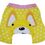 PORO1D กางเกงก้นบาน ขาสั้น ผ้ายืด ใส่สบาย ลาย PORORO สีเหลือง Size 100