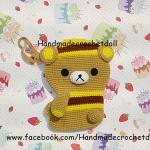 กระเป๋าใส่โทรศัพท์มือถือไหมพรม หมีคุมะชุดผึ้ง
