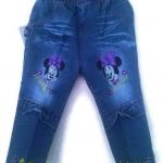 CNJ016 กางเกงยีนส์ เด็กหญิง ขายาว ผ้านิ่มใส่สบาย ปักแปะ Minnie มีระบายตรงเข่าเพิ่มความหวาน Size 15-18