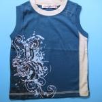 LES102 LES ENPhANTS - Disney Baby เสื้อยืดเด็กชาย แขนกุดสีฟ้าเทอร์ควอยส์สลับสีครีม ปักลายลูกคลื่น ราคาป้าย 425 เหลือ Size 1 ขวบ