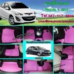ราคาพิเศษพรมปูพื้นรถยนต์ Mazda 2 2012 ลายกระดุมสีชมพูขอบดำ
