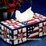 แพทเทิร์นกล่องทิชชูทรงยาวลายธงชาติสหรัฐ