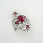 แหวนพอลยทับทิมล้อมไวท์โทปาซ (Ruby Silver Ring With White Topaz)