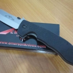 Emerson CQC8 Wave Linerlock, Black G-10, Satin Finish PlainEdge