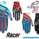 ถุงมือเต็มนิ้ว Alpinestars รุ่น Racer ดีไซน์ด้วยสีสันสะดุดตา แนบกระชับเข้ารูปตามสรีระของมือ