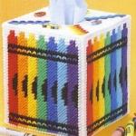 ชุดปักแผ่นเฟรมกล่องทิชชูลายสีเทียน