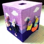 กล่องทิชชูแผ่นเฟรมสีม่วง ตัวหนีบตากผ้า