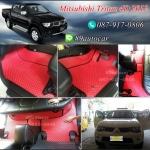 พรมรองพื้นรถยนต์ Mitsubishi Triton 4 ประตู ลายกระดุมสีแดงขอบดำ