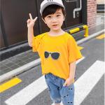 เสื้อ+กางเกง สีส้มเหลือง แพ็ค 5 ชุด ไซส์ 110-120-130-140-150 (เลือกไซส์ได้)