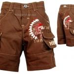 K421PA-28 minisafari กางเกงเด็กชาย ขาสั้น สีน้ำตาล ช็อกโกแลต สกรีนลายอินเดียนแดง ปัก MNSF Size 12M/18M
