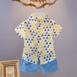 ชุดเซตเสื้อเชิ้ตลายสามเหลี่ยมสีเหลือง+กางเกงสีฟ้า [size 6m-18m-2y]