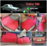 พรมกระดุมรถยนต์ Volvo 740 กระดุมสีแดงขอบดำ