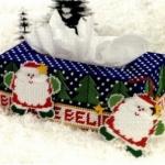 ชุดปักแผ่นเฟรมกล่องทิชชูยาว ลายซานต้า