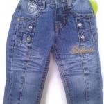 J11079 กางเกงยีนส์เด็กชาย ขายาว ดีไซส์ลายปักเท่ห์ ปรับเอวได้ Size 1-3 ขวบ