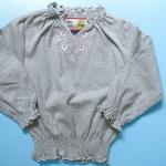 LES078 LES ENPhANTS - Baby Classic เสื้อผ้าเด็กหญิง เสื้อยืดแขนยาว สีเทา เอวจั๊มพ์ ปักลายดอกไม้สีชมพู Size 2T