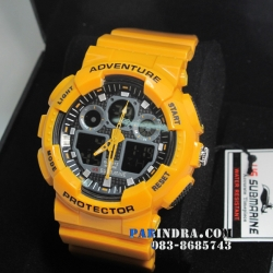 นาฬิกา US submarine Adventure Protector รุ่น TP3129M สีเหลืองมะม่วงสุกหน้าปัดดำพื้นหลังดำ