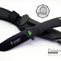มีดใบตายเดินป่า Ganzo Hunting Survival Knife กานโซ่ รุ่น G-8012BK ด้ามสีดำ ของแท้ 100%