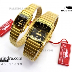 นาฬิกา US submarine รุ่น S1002M เรือนทองใหญ่สายทองหน้าปัดดำ
