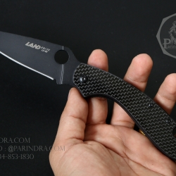 มีดพับ Land Knife LH-03 ด้ามลายคาร์บอนไฟเบอร์ ใบดำ (ของแท้) สวยงาม แกร่ง ทนทาน