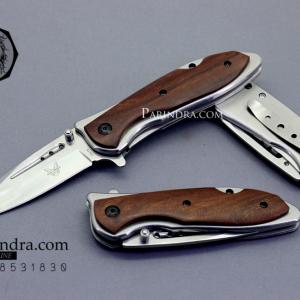 มีดพับ BenchMade สี เงินเงา ด้ามฝังไม้ รุ่น DA76 (OEM)