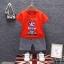ชุดเซตเสื้อสีแดงลายมาริโอ้+กางเกงลายสก็อตสีเทา แพ็ค 4 ชุด [size 6m-1y-2y-3y] thumbnail 1