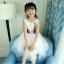 ชุดเดรสแขนกุดสีขาวแต่งดอกไม้ที่เอว [size 5y-6y-7y-8y-9y-10y] thumbnail 1