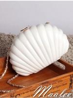 พร้อมส่ง Evening Clutch กระเป๋าออกงาน ทรงเปลือกหอย ใส่ของได้เยอะจุใจ สีขาวมุก มาพร้อมสายสะพายยาว