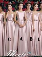 Pre-order ชุดราตรียาว ชุดเพื่อนเจ้าสาว สีชมพู Pastel ผ้าซาตินดูเรียบหรู มี 6 แบบ หลายสไตล์ (เชือกผูกหลัง)