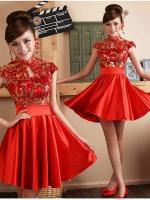 Pre-order / เช่า ชุดแฟนซี ชุดราตรีสั้น ชุดกี่เพ้า คอจีน สีแดง กระโปรงจับจีบสวย
