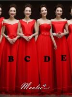 Pre-order ชุดราตรียาว ชุดเพื่อนเจ้าสาว PE-624 สีแดง ผ้าซาติน กรโปรงตาข่ายนิ่ม (เชือกผูกหลัง)