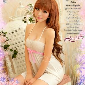 SAN274ชุดนอนเซ็กซี่น่ารัก สีขาว ผ้านิ่ม สวยหวาน ชุดนอนกระโปรงน่ารัก