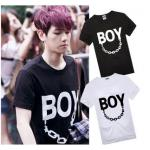 เสื้อยืดแฟชั่น BAEKHYUN BOY EXO สีดำ : XL