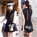 Lady Ellie Cruise Glam Black Tuxedo Suit Jumpsuit Size M : จั๊มสูททักซิโด้ติดผ่าหลัง ขนาด M