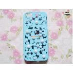 เคสฉลุลายดอกไม้แต่งมุก ไอโฟน 5/5s-สีฟ้า