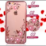 เคสนิ่มขอบเงาแต่งเพชรลายดอกไม้ไอโฟน 4/4s-rose gold