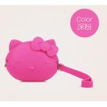 กระเป๋าเก็บหูฟังซิลิโคน คิตตี้-สีชมพูเข้ม