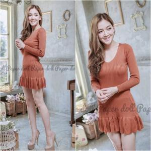 Brown Knit Dress เดรสไหมพรมชายระบายสีน้ำตาล