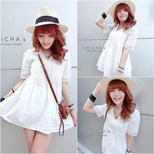 Lovely V White Long Blouse เสื้อตัวยาวคอวีสีขาว