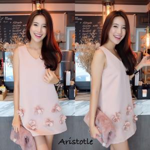 3D Flower Classy Dress – Nude Pink สีชมพูนู้ด