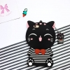 เคสซิลิโคน 3Dแมวดำใส่เสื้อขวาง ไอโฟน 5/5se/5s