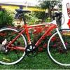 !!!SALE!!!จักรยานเสือหมอบแฮนด์ตรง JKDHB เฟรมอลูซ่อนสาย 8 สปีด Microshift