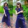 Ribbon Blue&White Striped Pleat Maxi Dress แม็กซี่เดรส เดรสยาวลายริ้วขาวบนพื้นสีน้ำเงินกระโปรงอัดพลีท