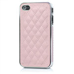 I Phone 4,4S Luxury Electroplating Leathe : Pink