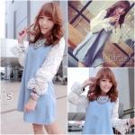 Lacy Princess Lace Sleeve Dress เดรสสีฟ้าแขนลูกไม้