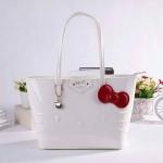 กระเป๋าสะพายหนังแก้วเฮลโหลคิตตี้สีขาวครีมแต่งโบว์แดง samantha vega hello kitty งานเนี๊ยบ..น่ารัก คุณภาพคับแก้ว