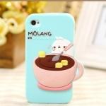 case iphone 4/4s เคสไอโฟน4/4s เคสซิลิโคน 3D Molang ตุ๊กตาตัวน้อยคนถ้วยกาแฟน่ารักมากๆ