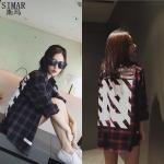 เสื้อแขนยาว เสื้อแฟชั่นเกาหลี ลายสก๊อตสีแดง WHITE13