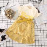 เสื้อ+กระโปรง สีเหลือง แพ็ค 5 ชุด ไซส์ 7-9-11-13-15